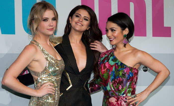 Ashley Benson, Selena Gomez, and Vanessa Hudgens at the 'Spring Breakers' premiere held at the Cinestar Potsdamer Platz in Berlin on February 19, 2013