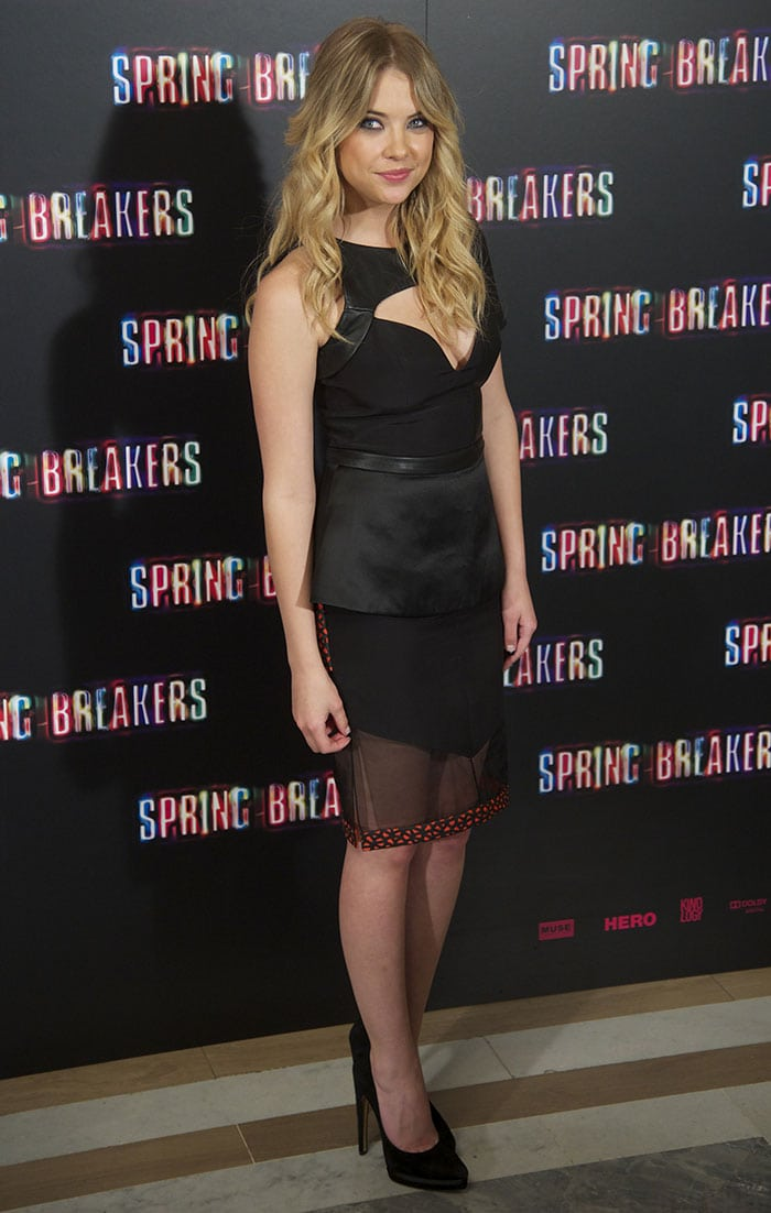 Ashley-Benson-cleavage-black-dress-Spring-Breakers