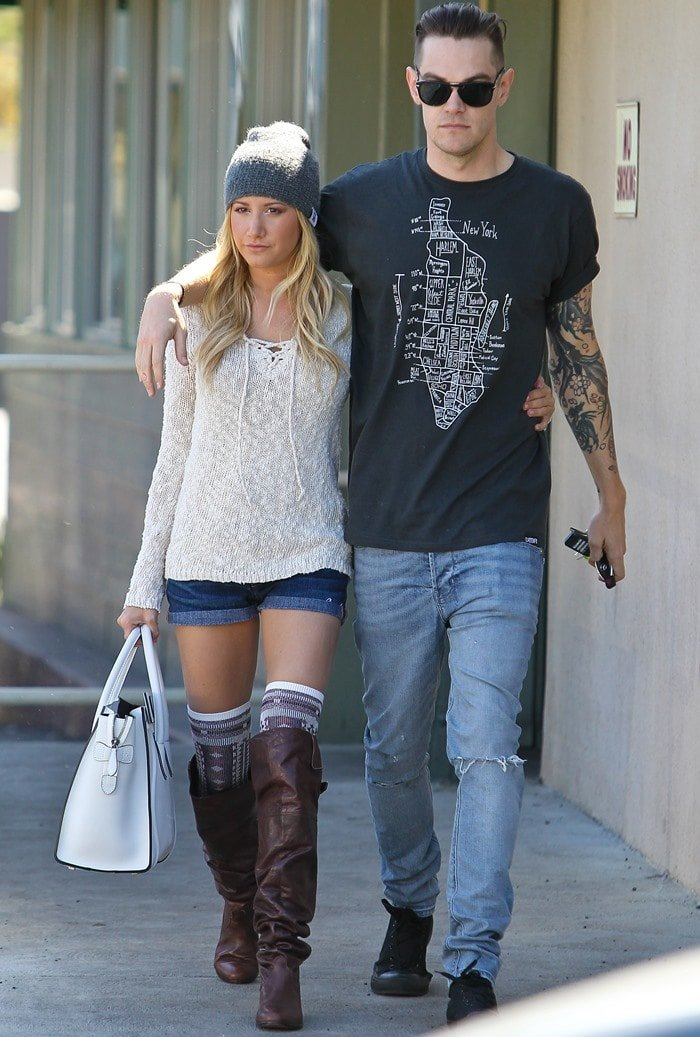 Ashley Tisdale and her boyfriend, Christopher French, on a date in Studio City