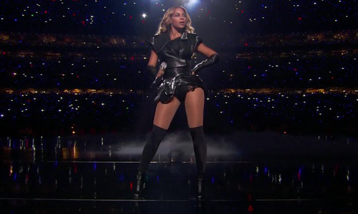 Beyonce performs during the Super Bowl halftime show on February 3, 2013