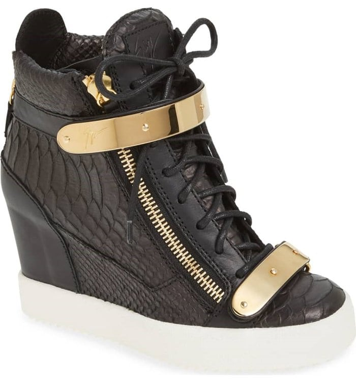 4779beb84ba3 Goldtone hardware complements the ultra-modern style of this wedge sneaker  shaped from rich croc