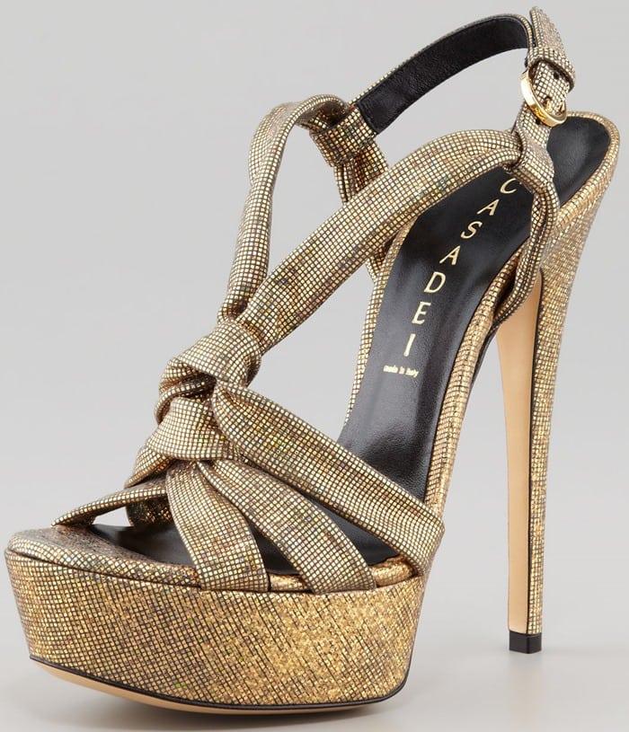 Casadei Disco Y-Strap Sandals in Gold
