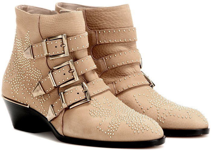 Chloe Beige Susanna Studded Leather Ankle Boots
