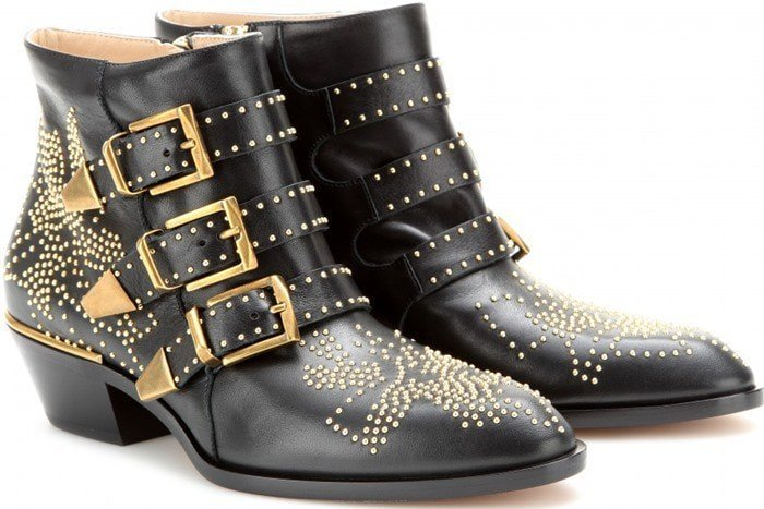 Chloe Black 'susanna' Ankle Boots gold