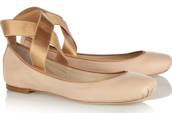 Nude Chloe Leather Ballet Flats