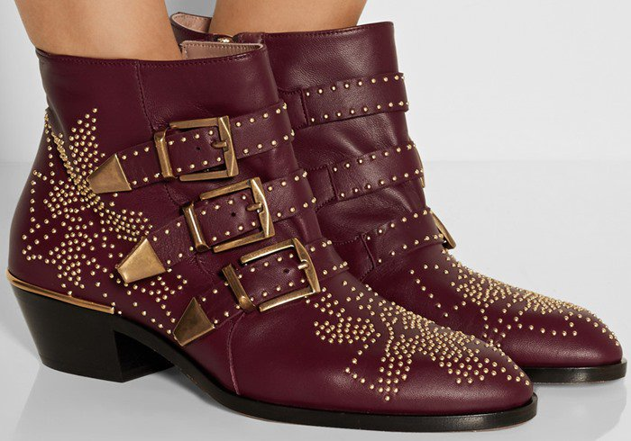 Chloe Susanna red studded textured-leather ankle boots