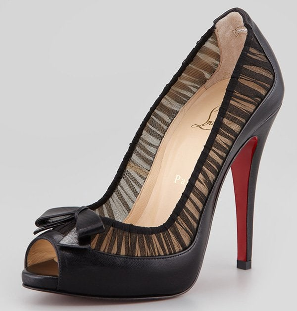 Christian Louboutin Angelique Chiffon & Leather Red-Sole Pumps in Black