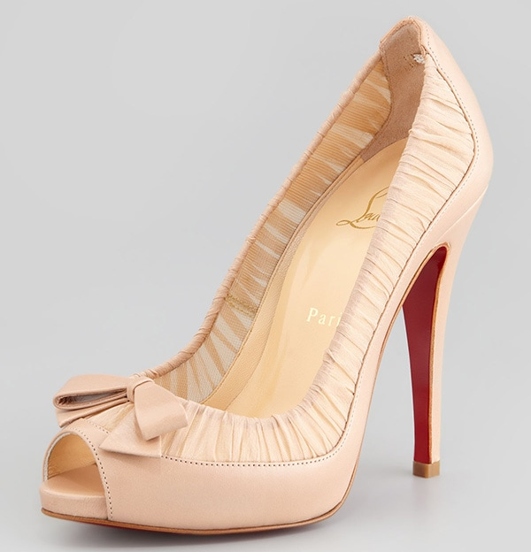 Christian Louboutin Angelique Chiffon & Leather Red-Sole Pumps in Nude