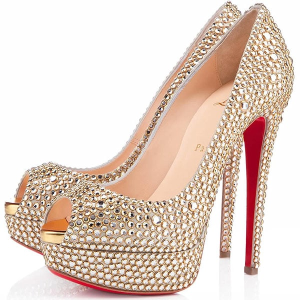 Christian Louboutin Lady Peep Ring Strass
