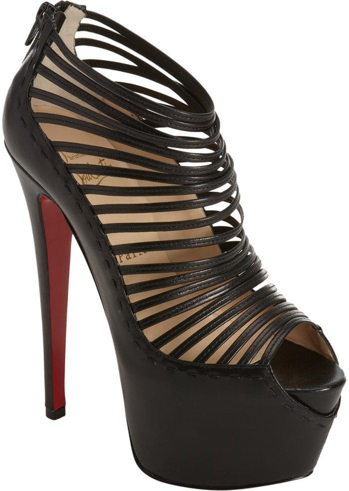 Christian Louboutin Zoulou Black Strappy Platform Red Sole Sandal