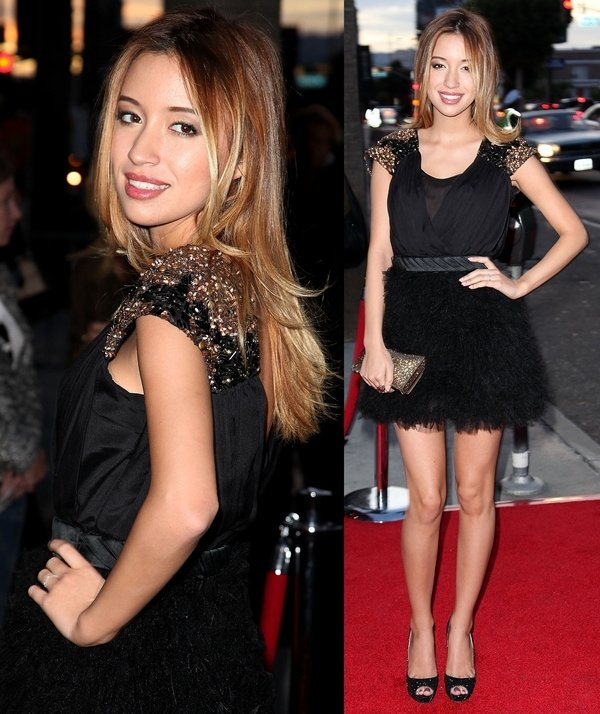 Christian Serratos wears a pleated tulle cocktail Gabriela Cadena dress with beaded shoulder detail