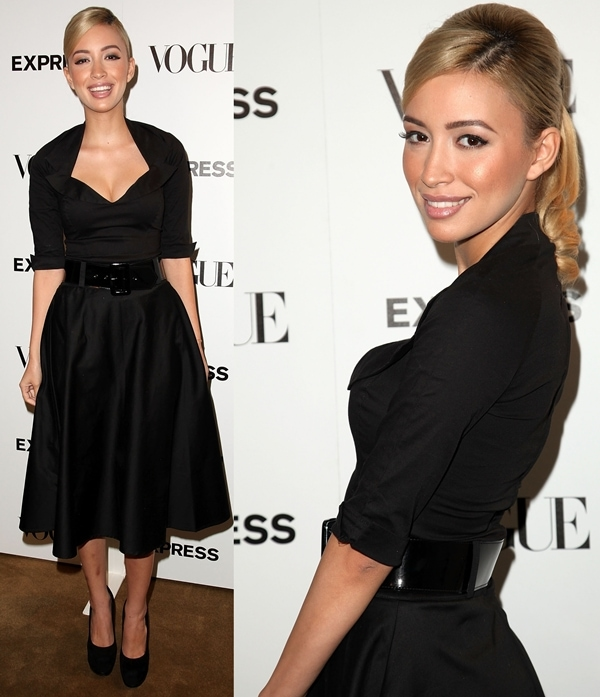 Christian Serratos wears a black dress at the Express And Vogue 'The Scenemakers' celebration