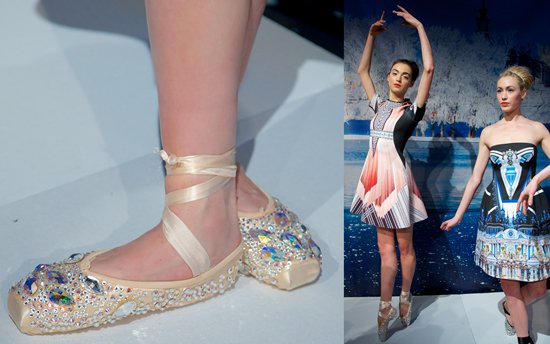 Ballerinas doubling as models for Clover Canyon's Autumn/Winter 2013 collection and showing off their skills in dazzling toe shoes