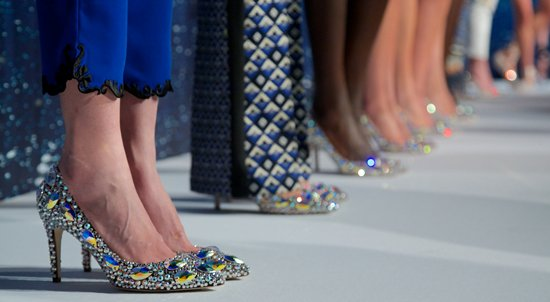 The collection was designed by Rozae Nichols and featured riveting, kaleidoscopic prints and, our favorite, glittering shoes