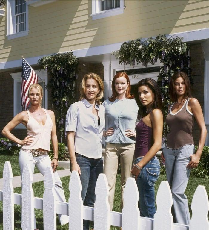 Nicollette Sheridan (as Edie Britt), Felicity Huffman (as Lynette Scavo), Marcia Cross (as Bree Van De Camp), Eva Longoria (as Gabrielle Solis), Teri Hatcher (as Susan Mayer) in Desperate Housewives