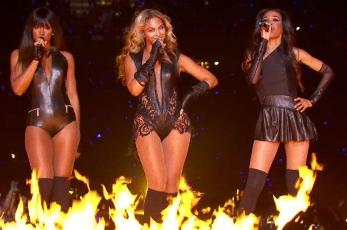 Kelly Rowland, Beyonce Knowles, and Michelle Williams perform during the Super Bowl halftime show