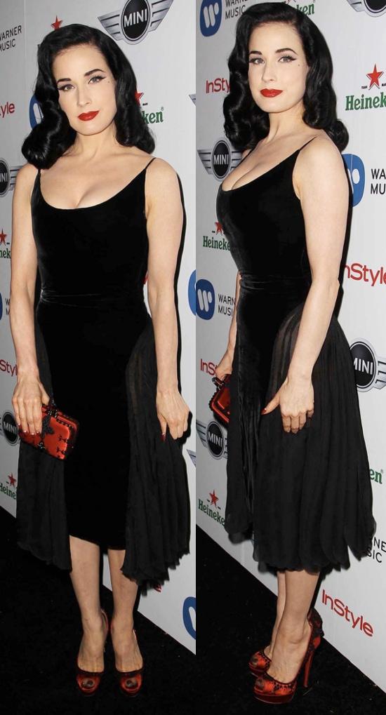 Dita Von Teese at the 55th Annual Grammy Awards