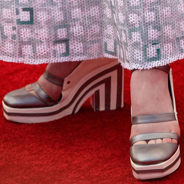 Elle Fanning Chanel striped platform pumps