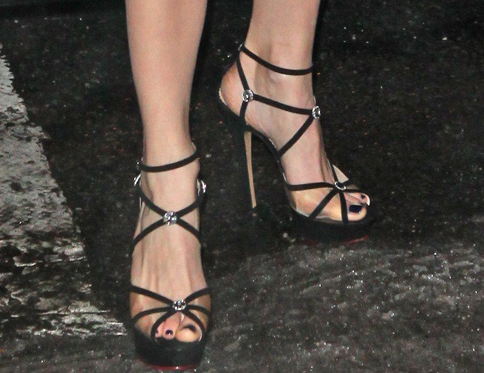 """Emmy Rossum's feet in Charlotte Olympia """"Isadora"""" strappy sandals"""