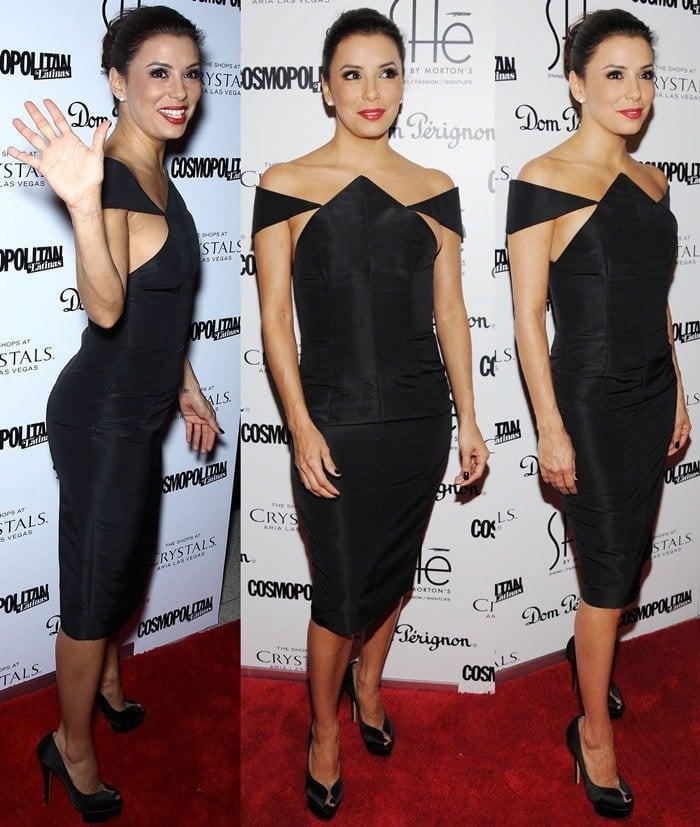 Eva Longoria stuns on the red carpet in a black Cushnie Et Ochs dress