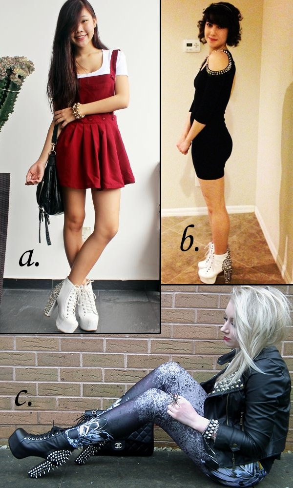 Fashion bloggers wearing spiked Lita boots