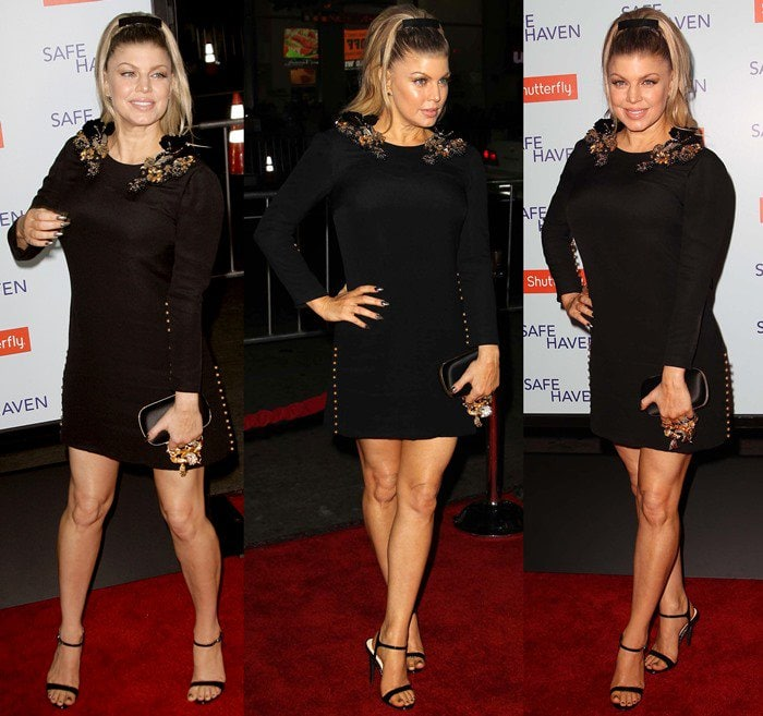 Fergie flaunts her long legs at the premiere of 'Safe Haven'
