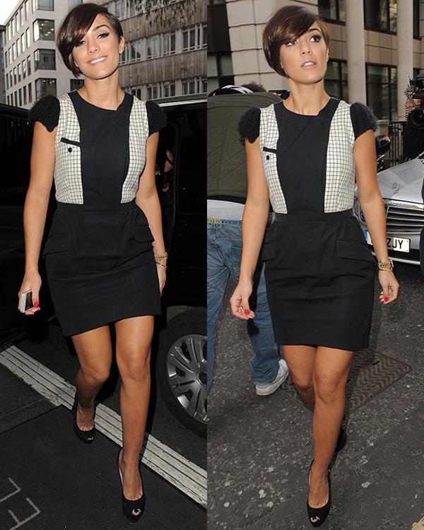 Frankie Sandford's slender legs at the Julien Macdonald show during London Fashion Week
