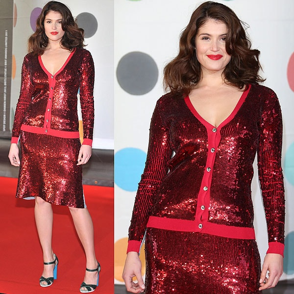 Gemma Arterton wore a sparkling Jonathan Saunders Spring 2013 ensemble at the 2013 BRIT Awards held at O2 Arena in London, England on February 20, 2013