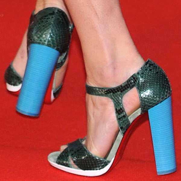 Gemma Arterton showing off her feet in Christian Louboutin for Jonathan Saunders sandals