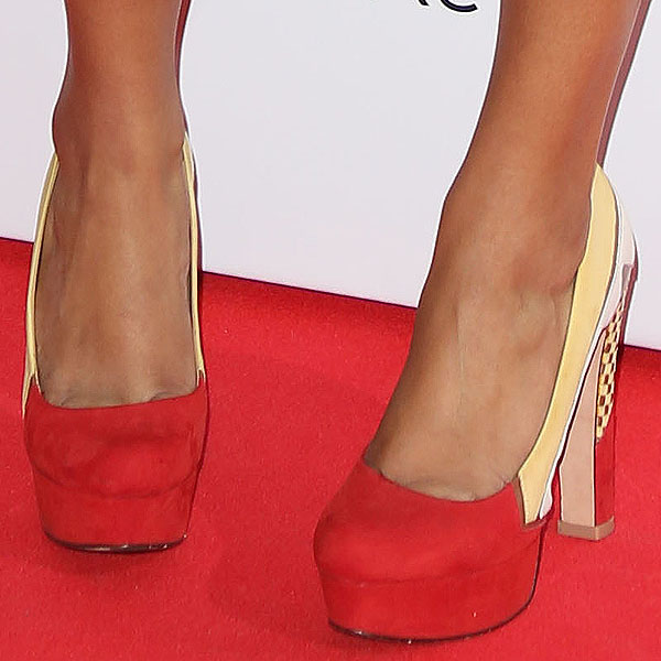 Gemma Cairney red and yellow pumps
