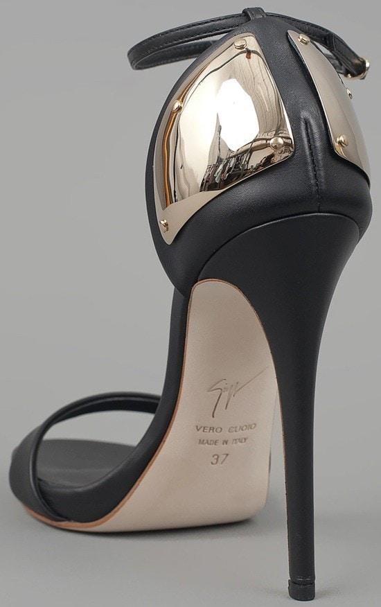 Giuseppe Zanotti Ankle Strap Heels with Plate, $695.00 Heel