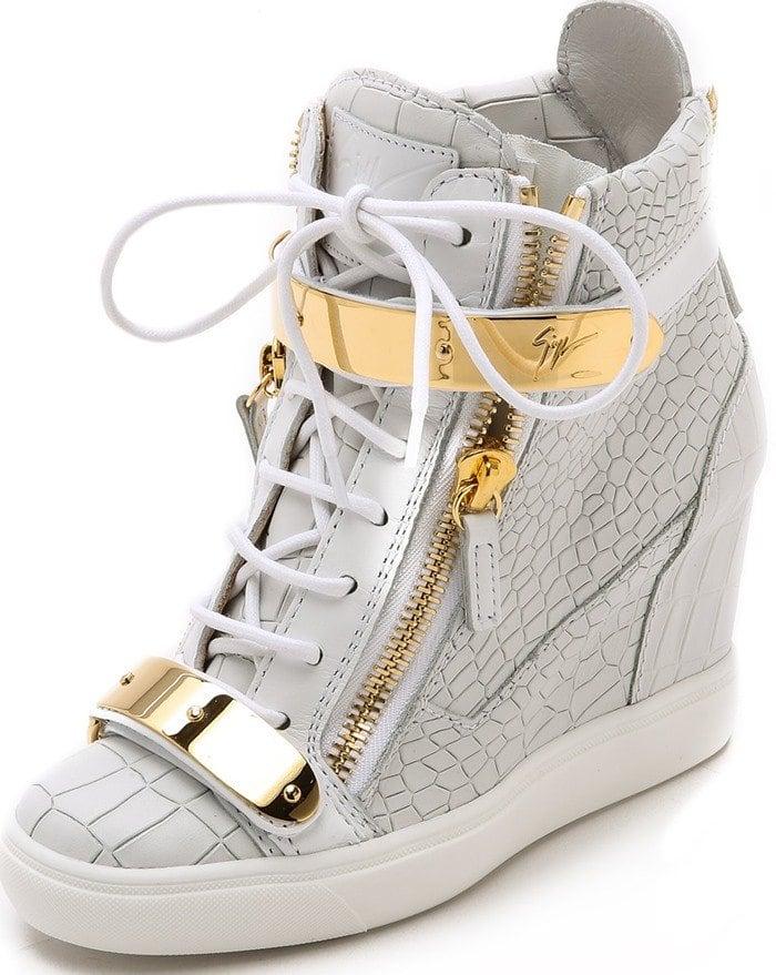 Giuseppe Zanotti Croc Embossed Wedge Sneakers