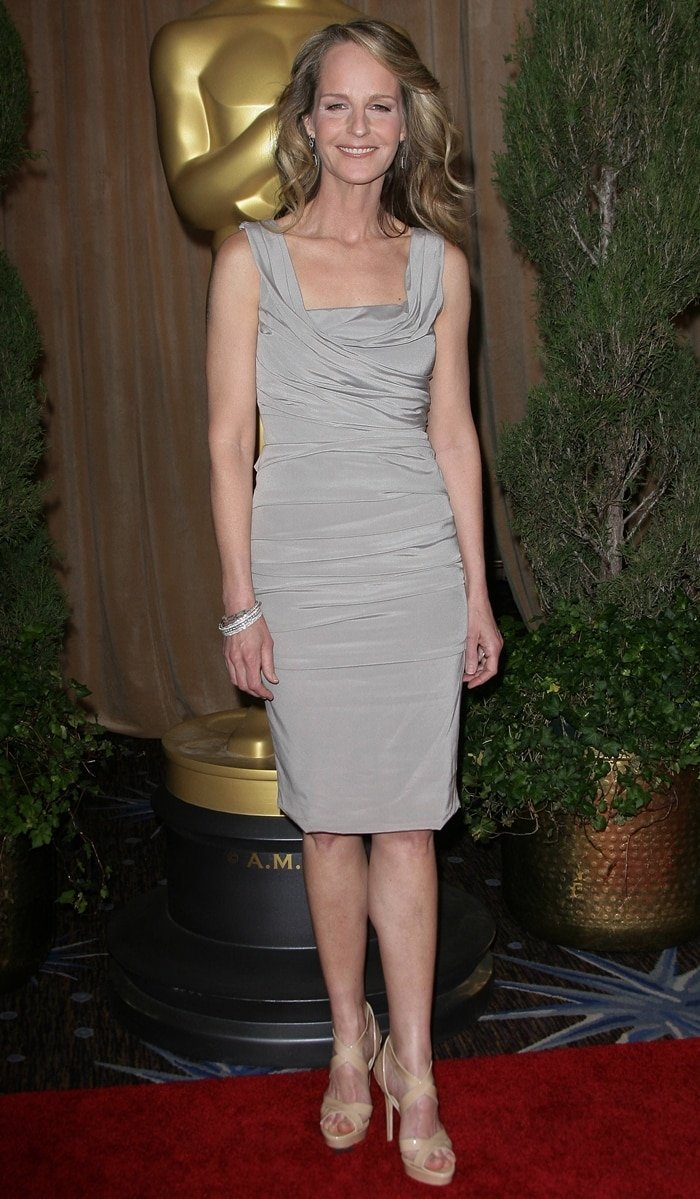 Helen Hunt styled her Dolce & Gabbana dress with nude Jimmy Choo sandals
