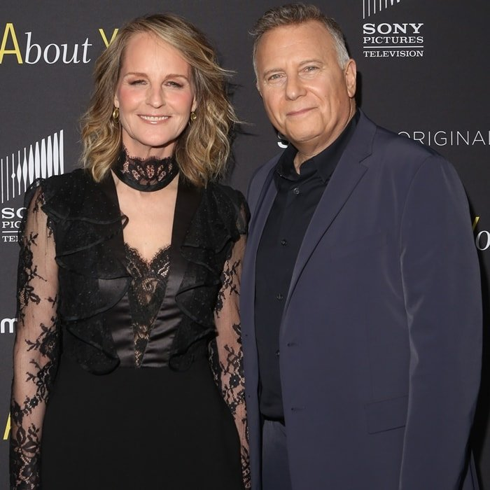 Helen Hunt and Paul Reiser attending a red carpet premiere of their limited series Mad About You