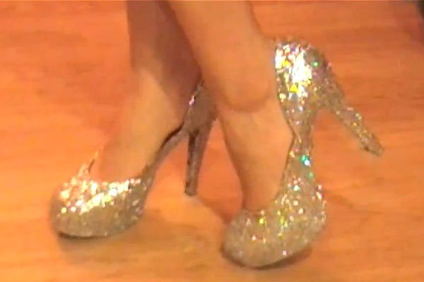 How the shoes looked after being glitterized