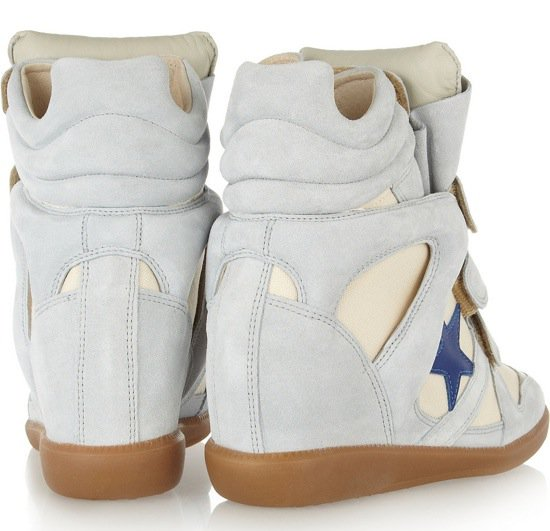 ISABEL MARANT Bayley suede and leather high-top sneakers $640 Heel