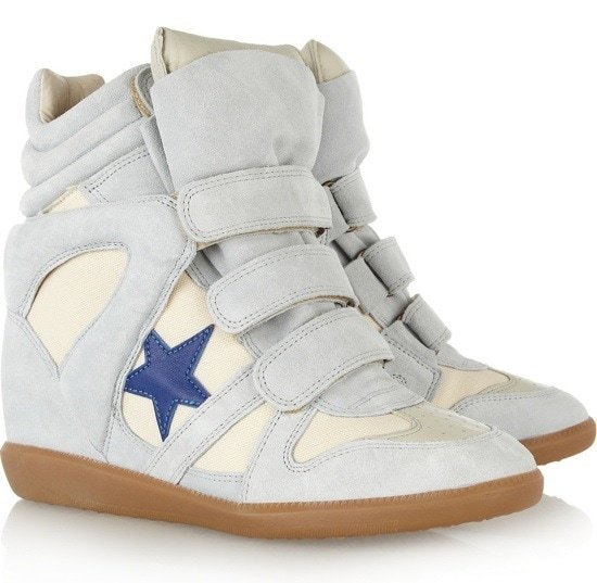 ISABEL MARANT Bayley suede and leather high-top sneakers $640