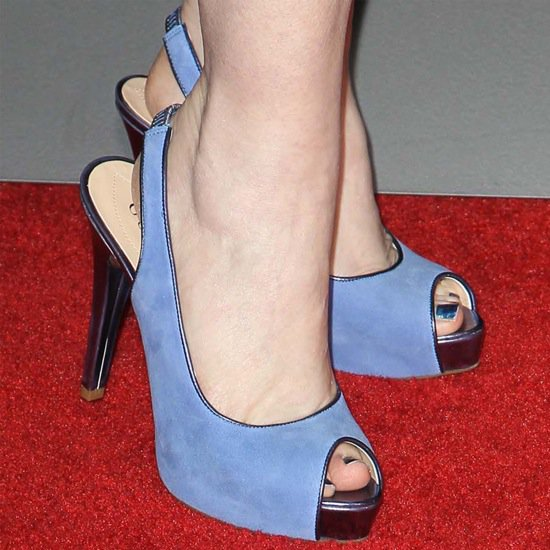 Kate Flannery showing off her feet in blue peep-toe shoes