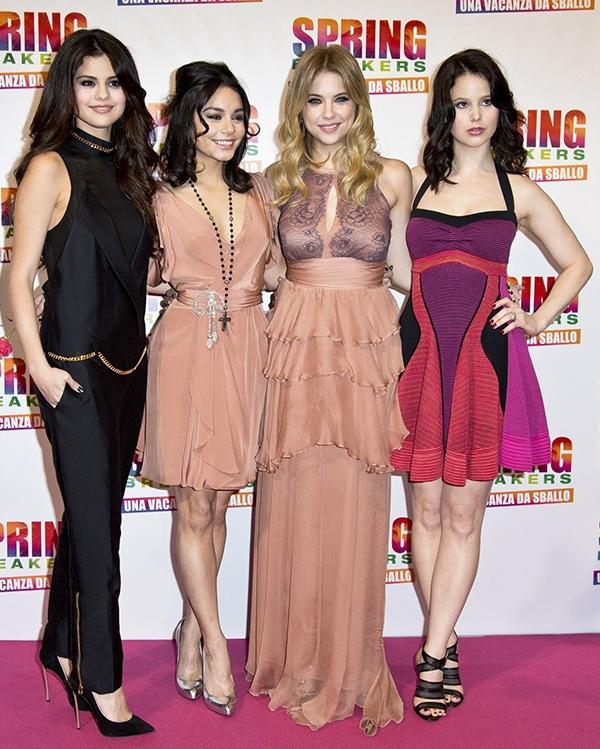 "Selena Gomez, Vanessa Hudgens, Ashley Benson and Rachel Korine pose on the pink carpet of the Italian premiere of ""Spring Breakers"""