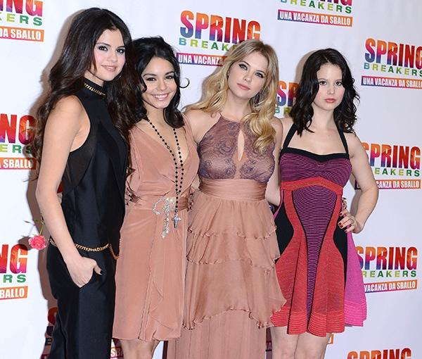 "Selena Gomez, Vanessa Hudgens, Ashley Benson, and Rachel Korine attend the Italian premiere of ""Spring Breakers"""