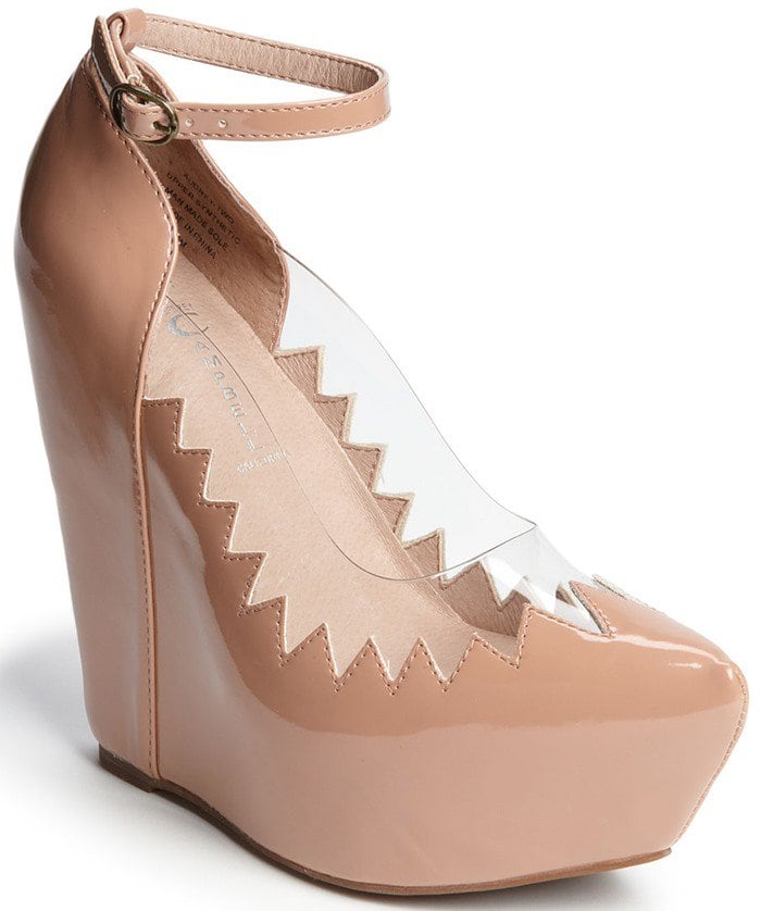Jeffrey Campbell 'Audrey' Jagged-Edged Ankle-Strap Wedges