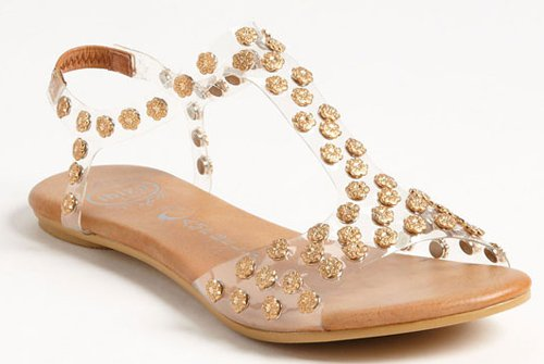Sandal with transparent acrylic leaf adorned with metal flowers