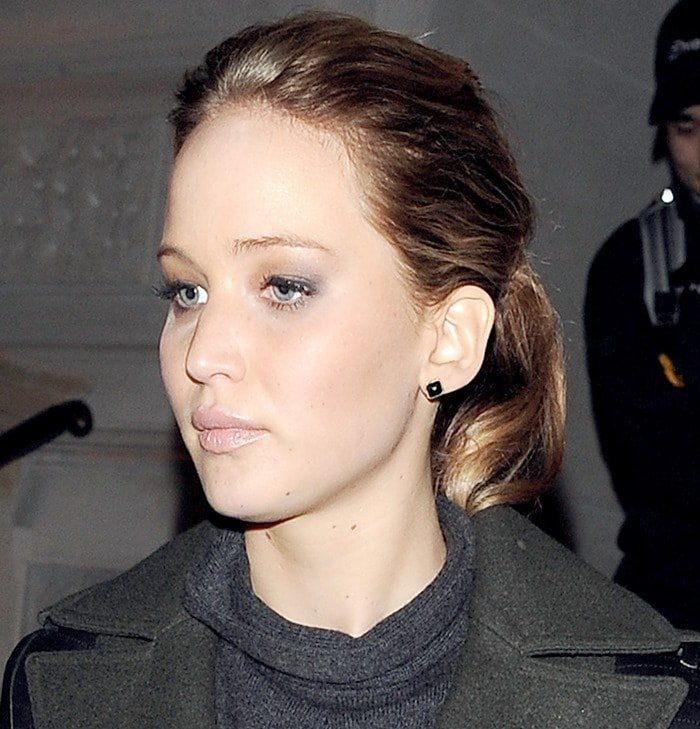 Jennifer Lawrence spotted leaving her hotel in London on February 8, 2013
