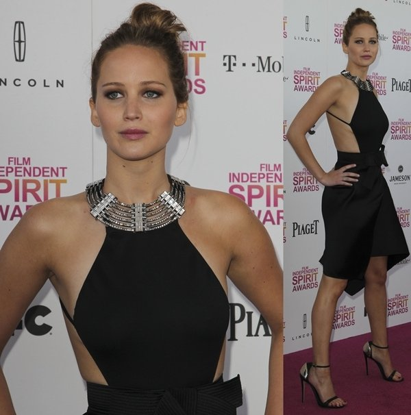 Actress Jennifer Lawrence attends the 2013 Film Independent Spirit Awards at Santa Monica Beach in Santa Monica, California, on February 23, 2013
