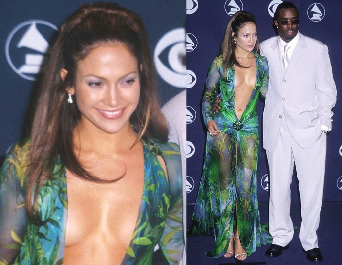 Jennifer Lopez and Sean'Diddy' Combs at the 42nd annual Grammy Awards in Los Angeles on February 23, 2000