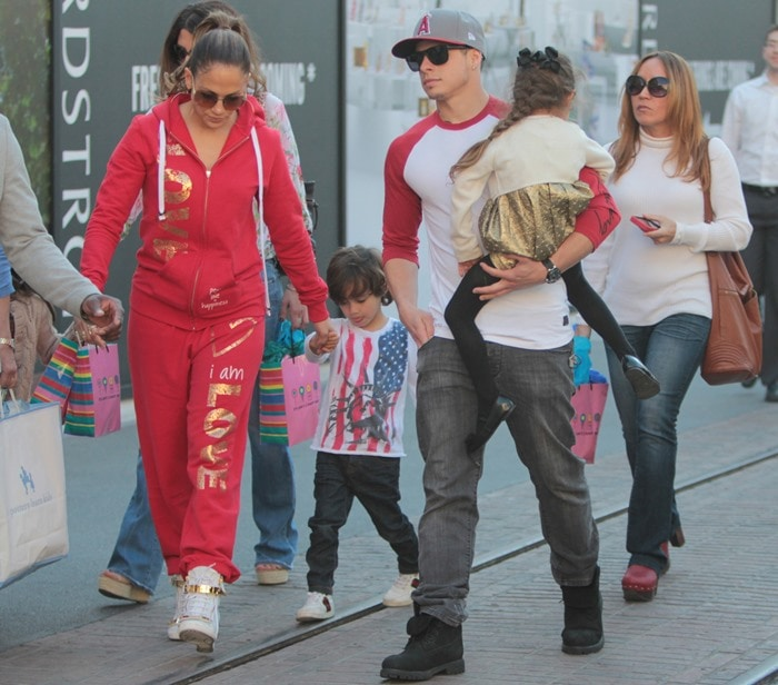Jennifer Lopez seen with her family shopping at The Grove