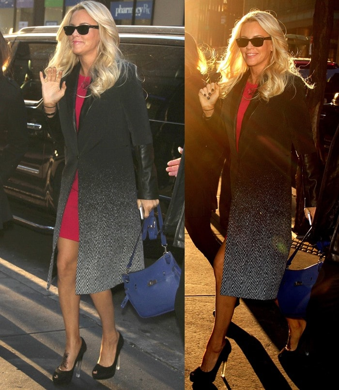 Jenny McCarthy wears a black patterned coat over a pink dress out in New York City