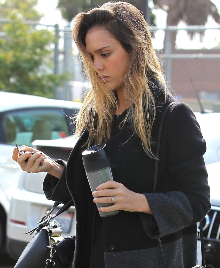 Jessica Alba wears her hair down as she heads to an office in Santa Monica