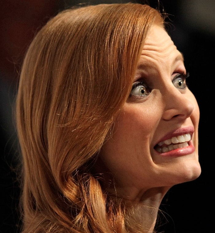 Jessica Chastain makes a funny face at The Hollywood Reporter Nominees' Night