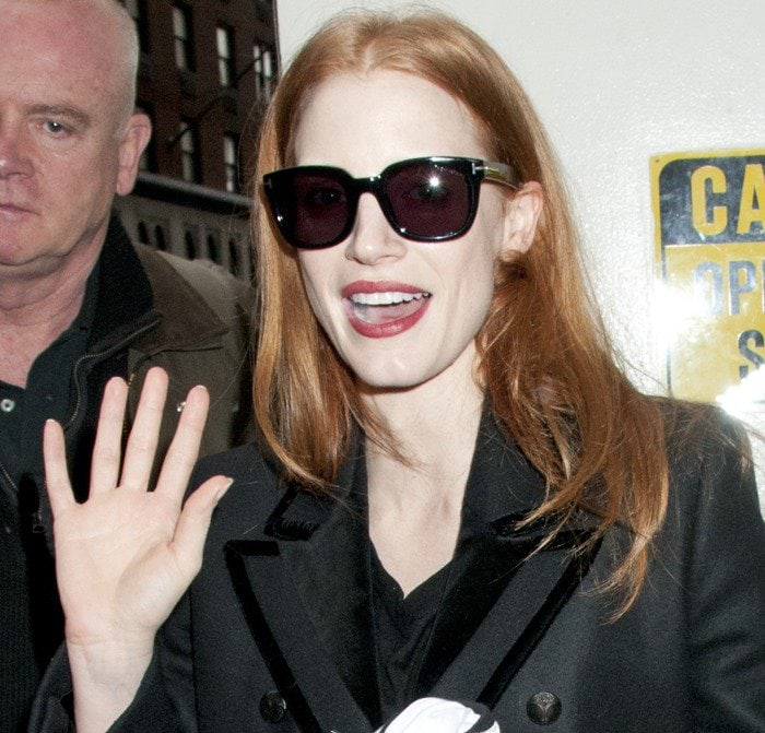 "Jessica Chastain arrives for matinee performance of ""The Heiress"""